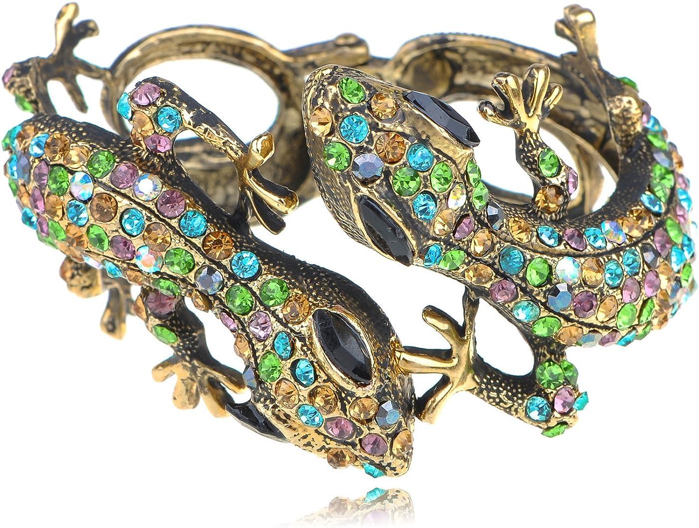 Alilang plata oro tono azul topacio de imitación Lagarto Gecko Gemelos Multicolor pulsera de Pareja puños pulsera