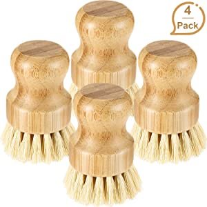 4 Pieces Bamboo Mini Scrub Brush Coconut Bristles Pot Brushes Dish Scrubber for Cast Iron Skillet, Kitchen Sink, Bathroom, Household Cleaning (Style B)
