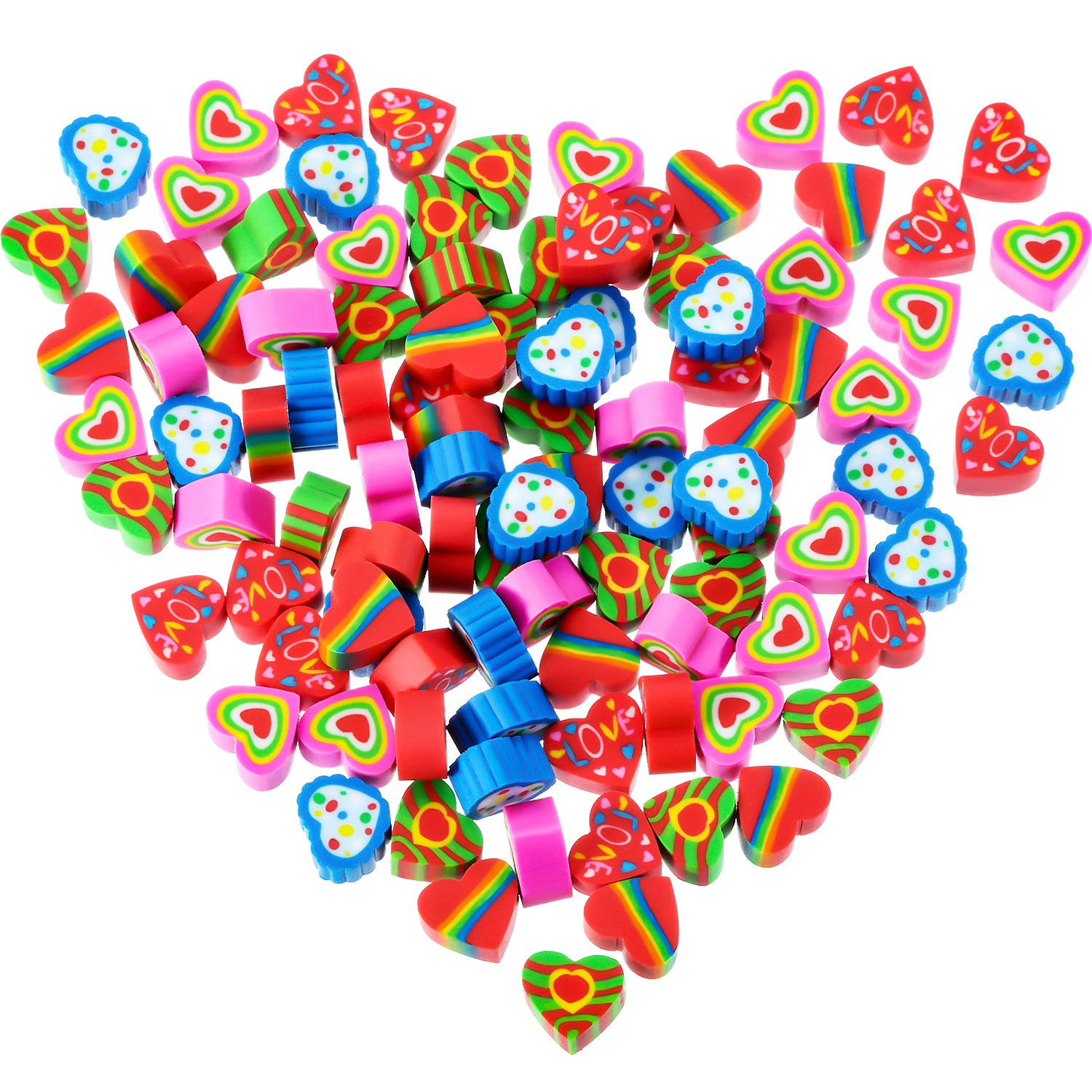 100 Pieces Mini Erasers Assortment Colorful Heart Erasers Novelty Heart Erasers für Party Favors, Homework Rewards, Gift Filling und Kunst Supplies (Style 1, 100 Pieces)