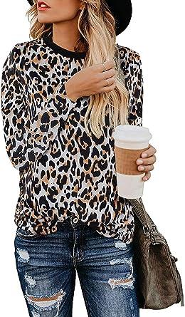Camiseta Manga Larga Mujer Camisa Basica Blusa con Cuello Redondo Casual Shirt Elegante Lady Tops De En O Estampado Leopardo