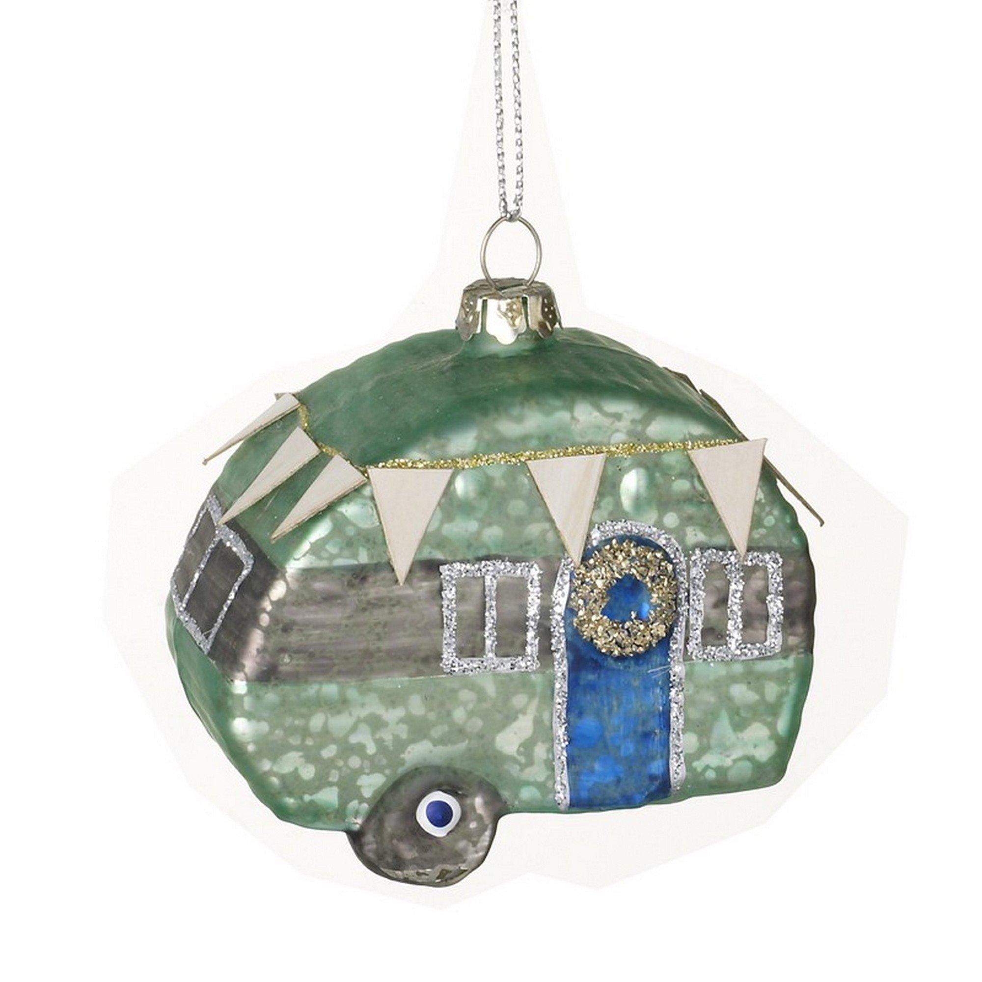 Heaven Sends Glass Hanging Caravan Decoration (One Size) (Green)
