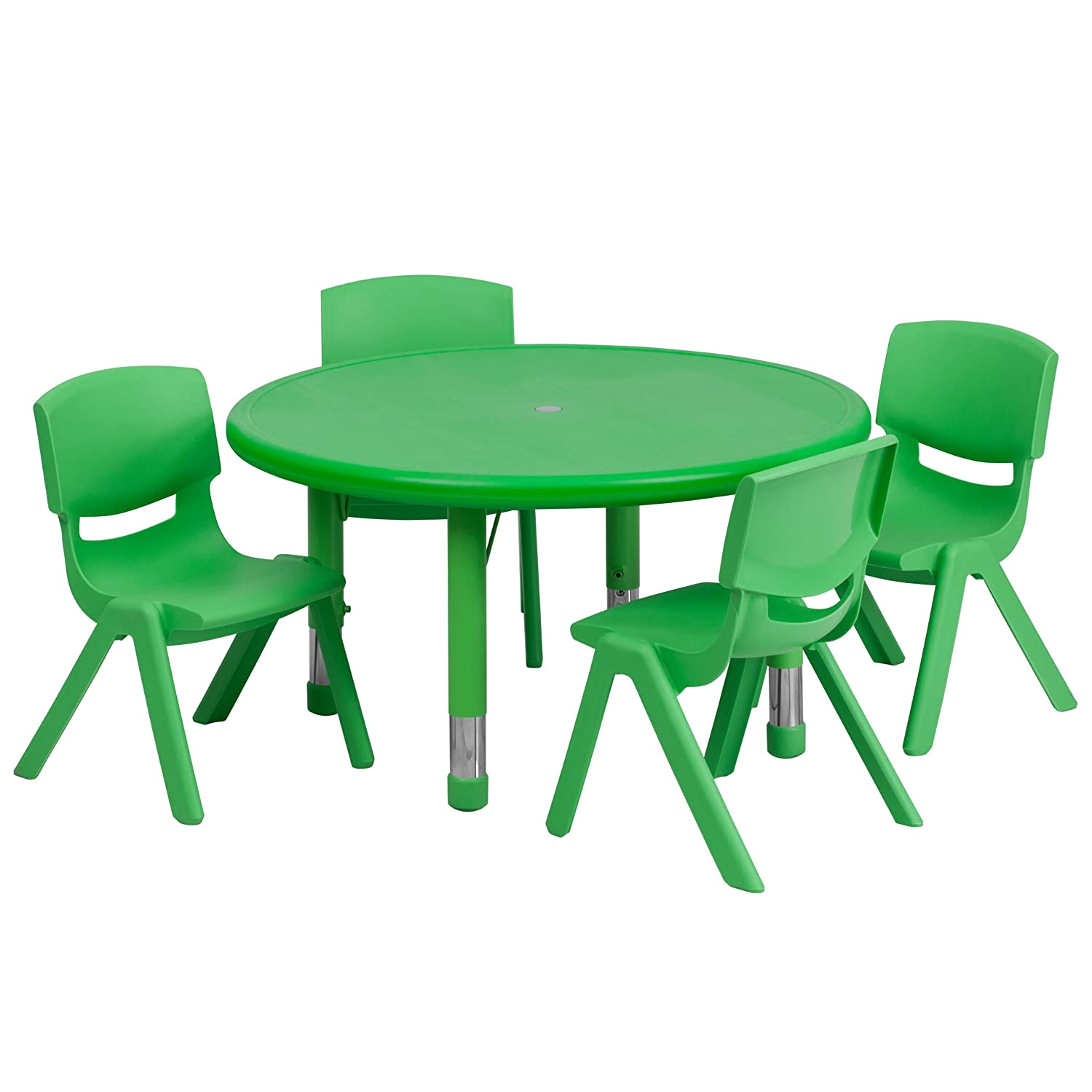 """Flash Furniture 33"""" Round Adjustable Green Plastic Activity Table Set with 4 School Stack Chairs"""