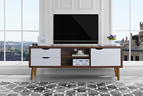 Sofamania Mid-Century Style TV Stand, Living Room Entertainment Center  (Brown/White)
