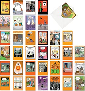 NobleWorks, Halloween Hilarity - 36 Funny Halloween Cards Bulk - Boxed Cartoon Humor, Notecard Set with Pumpkins, Ghosts, Witches AC3437HWG-B1x36