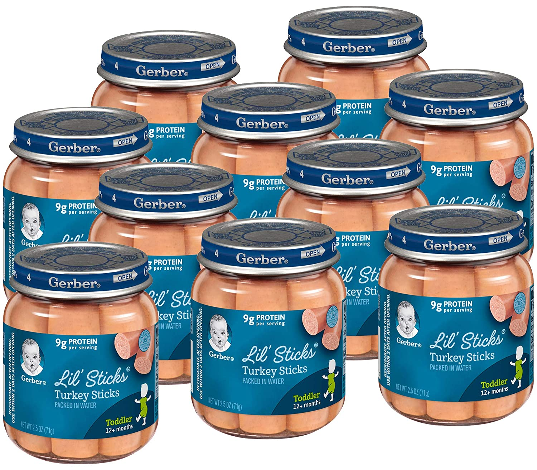 Gerber Lil' Sticks Baby Food Meats, Turkey Sticks, 2.5 oz Glass Jars (Pack of 10)