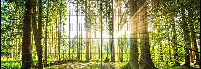 Panorama XL Fluss Bedruckter Sichtschutz Zaun Streifen Doppelstab Matten
