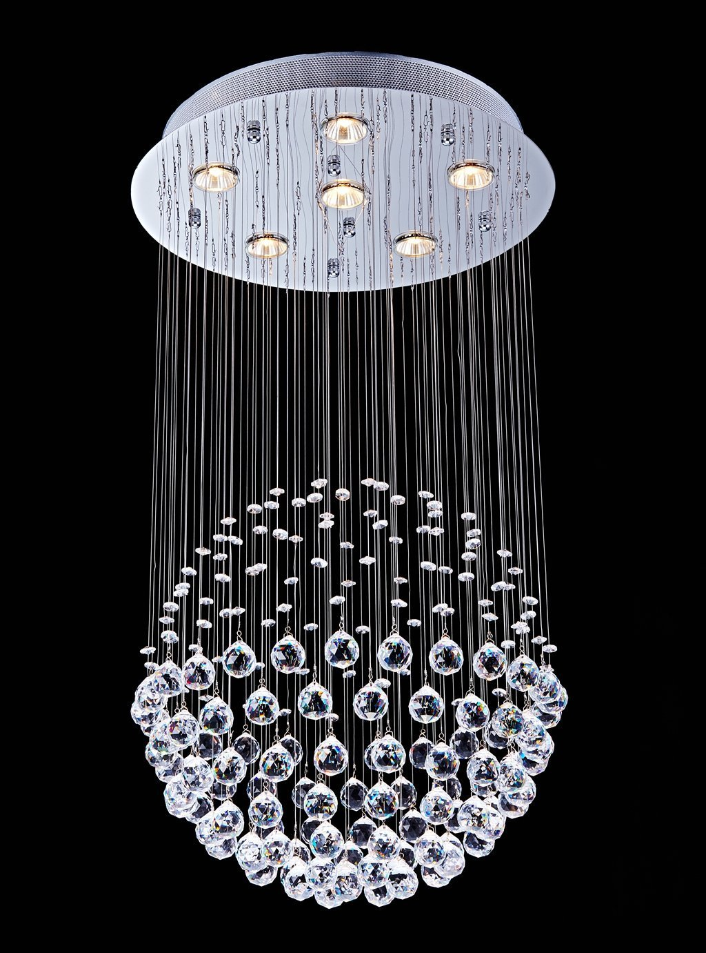 Saint Mossi Chandelier Modern K9 Crystal Raindrop Chandelier Lighting Flush mount LED Ceiling Light Fixture Pendant Lamp for Dining Room Bathroom Bedroom Livingroom 6 GU10 LED Bulbs Required H32 X D18 by Saint Mossi