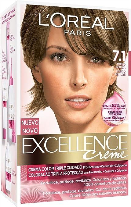 LOréal Paris Coloración Excellence Crème Triple Protección 7.1 Rubio Ceniza - 268 gr