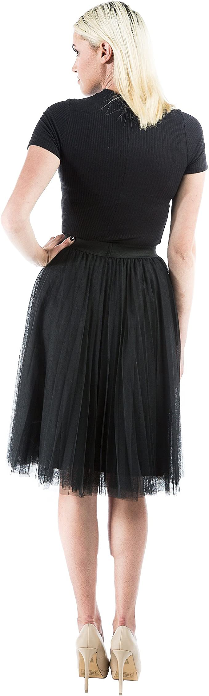 Aerusi Pleated Tulle Lace Skirt With Elasic Waist fits 20-36inches