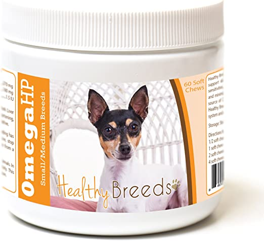 Healthy Breeds Toy Fox Terrier Omega HP Fatty Acid Skin and Coat Support Soft Chews 60 Count