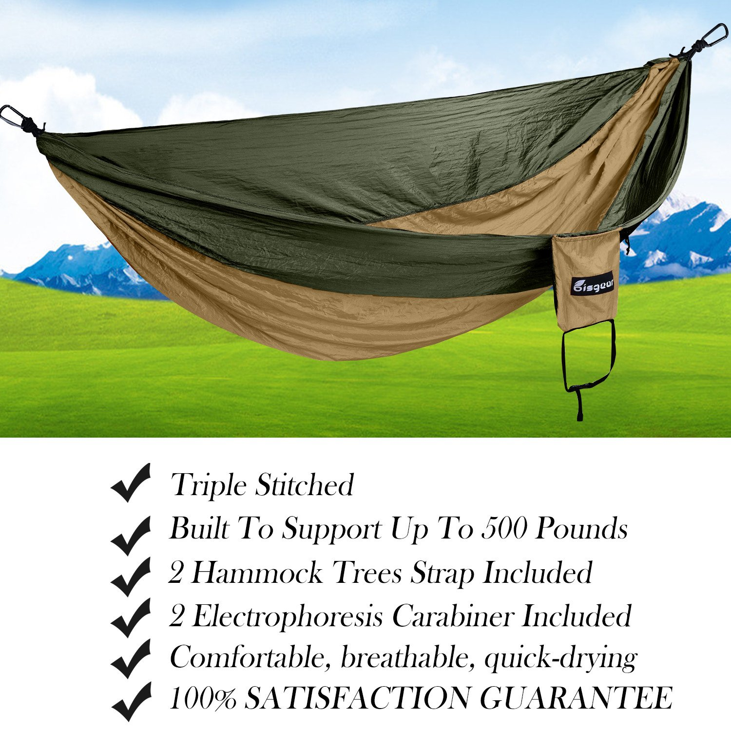 Double Single Camping Hammock Lightweight Image 2