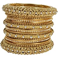 Much More 22k Gold Plated Set of Antique Look Bangles Women and Girls