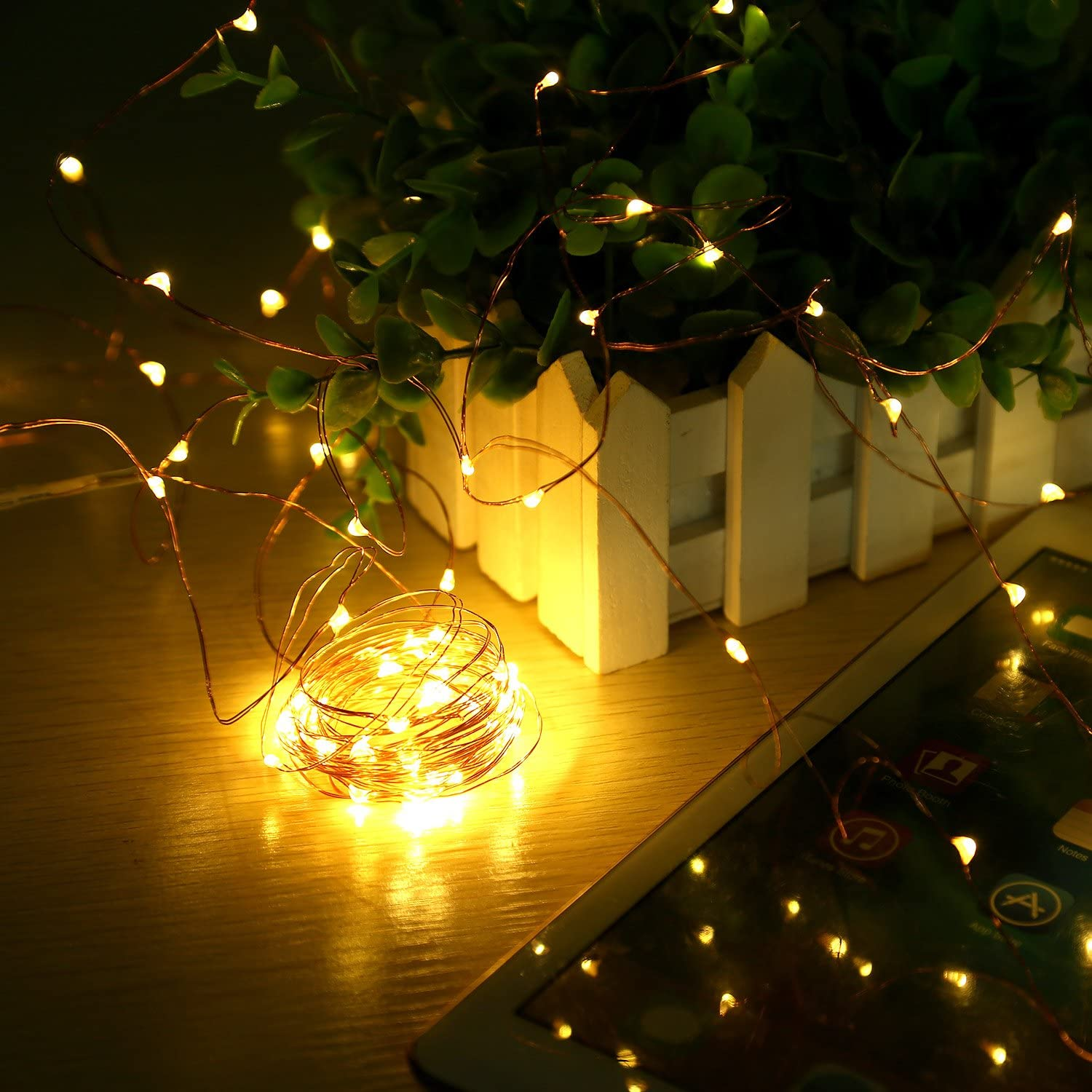 Gate 33ft 100LED Outdoor String Lights Warm White Wedding Home Garden WAAO Solar String Lights Waterproof Decorative String Lights for Patio Yard Christmas Party