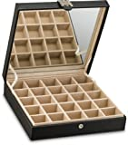 Earring Organizer - Classic 25 Section Jewelry Box / Case / Holder for Earrings, Rings, Necklaces, Jewelry, Cufflinks or Collections. 25 Small Compartments with Elegant Large Mirror - Black