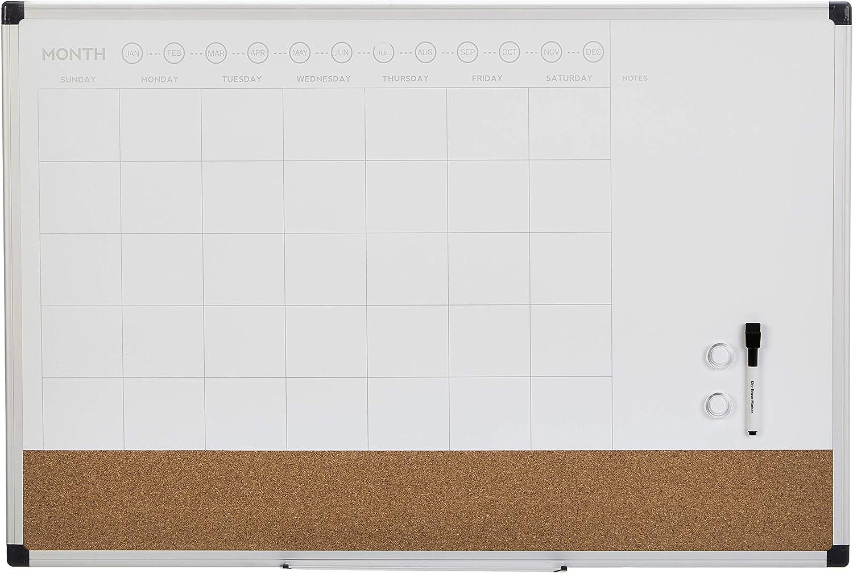 17 x 23 Aluminum Frame Basics 3 in 1 Combo Dry Erase Calendar Board 3 Pack