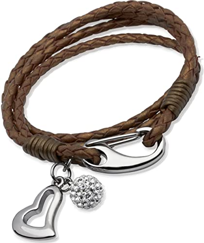 Unique & Co. Ladies 19cm Pearl Leather Braclet with Steel Shrimp Clasp,Crystal Ball and Heart Charm