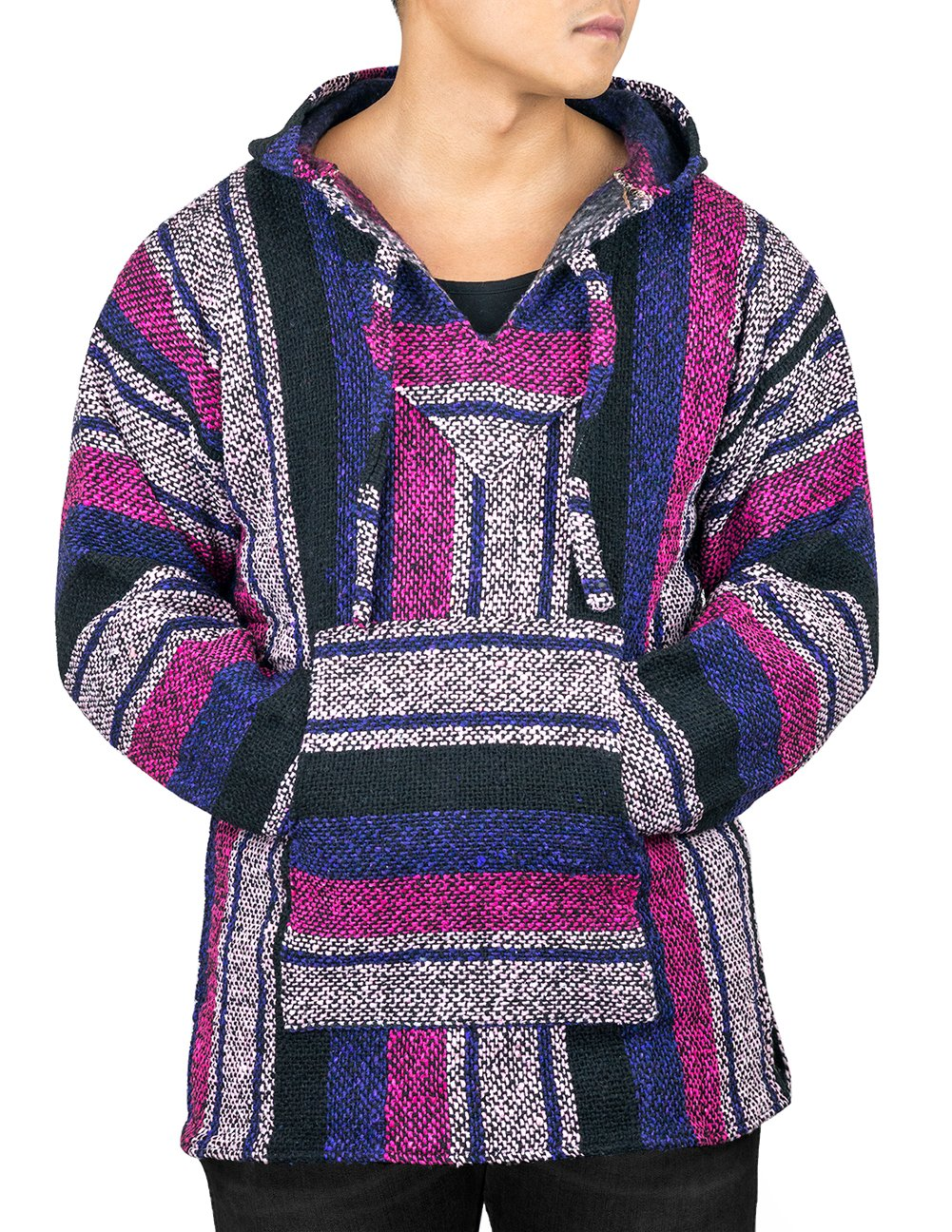 Unisex Mexican Jerga Hoodie - X-Large, Purple/Pink CLEVERBRAND INC.