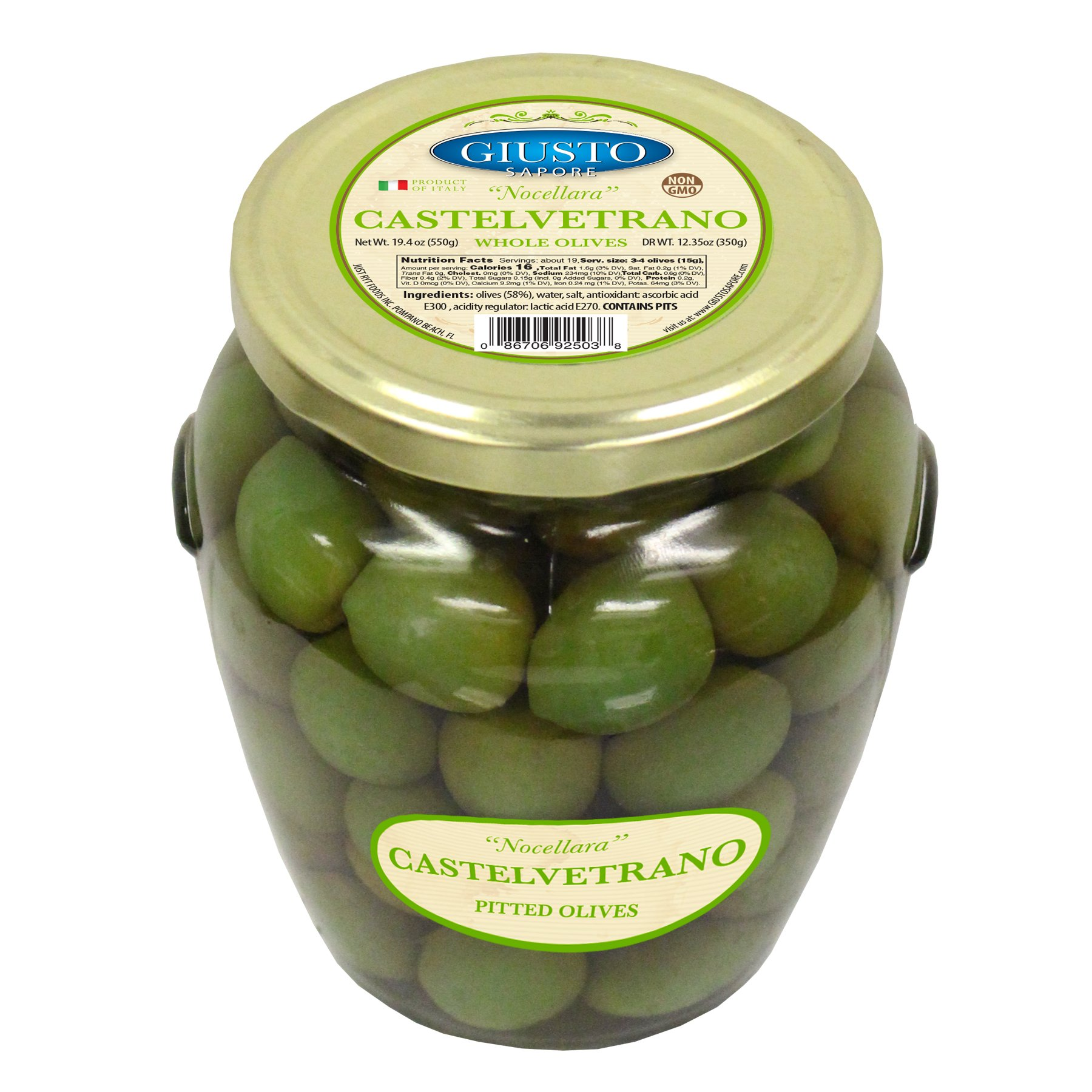 Giusto Sapore Italian Olives - Castelvetrano Whole - Premium Gourmet GMO Free - Imported from Italy and Family Owned - 19.4oz.
