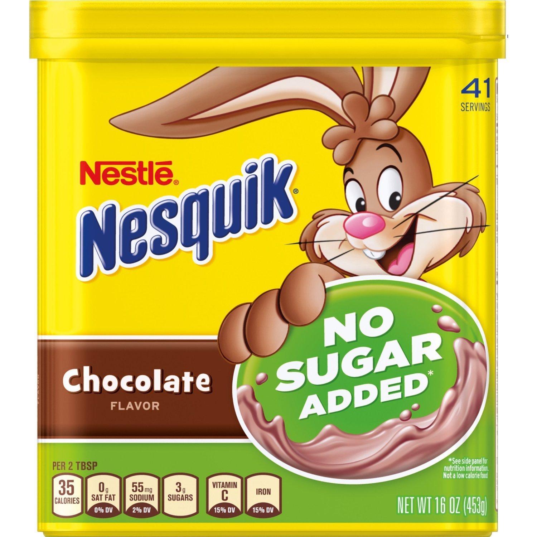 Nestle Nesquik No Sugar Added Chocolate Powder 16 Ounce (Pack of 2)