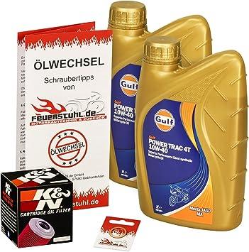 Gulf 10w 40 Öl K N Ölfilter Für Kawasaki Klx 250 09 15 Lx250s Ölwechselset Inkl Motoröl Filter Dichtring Auto