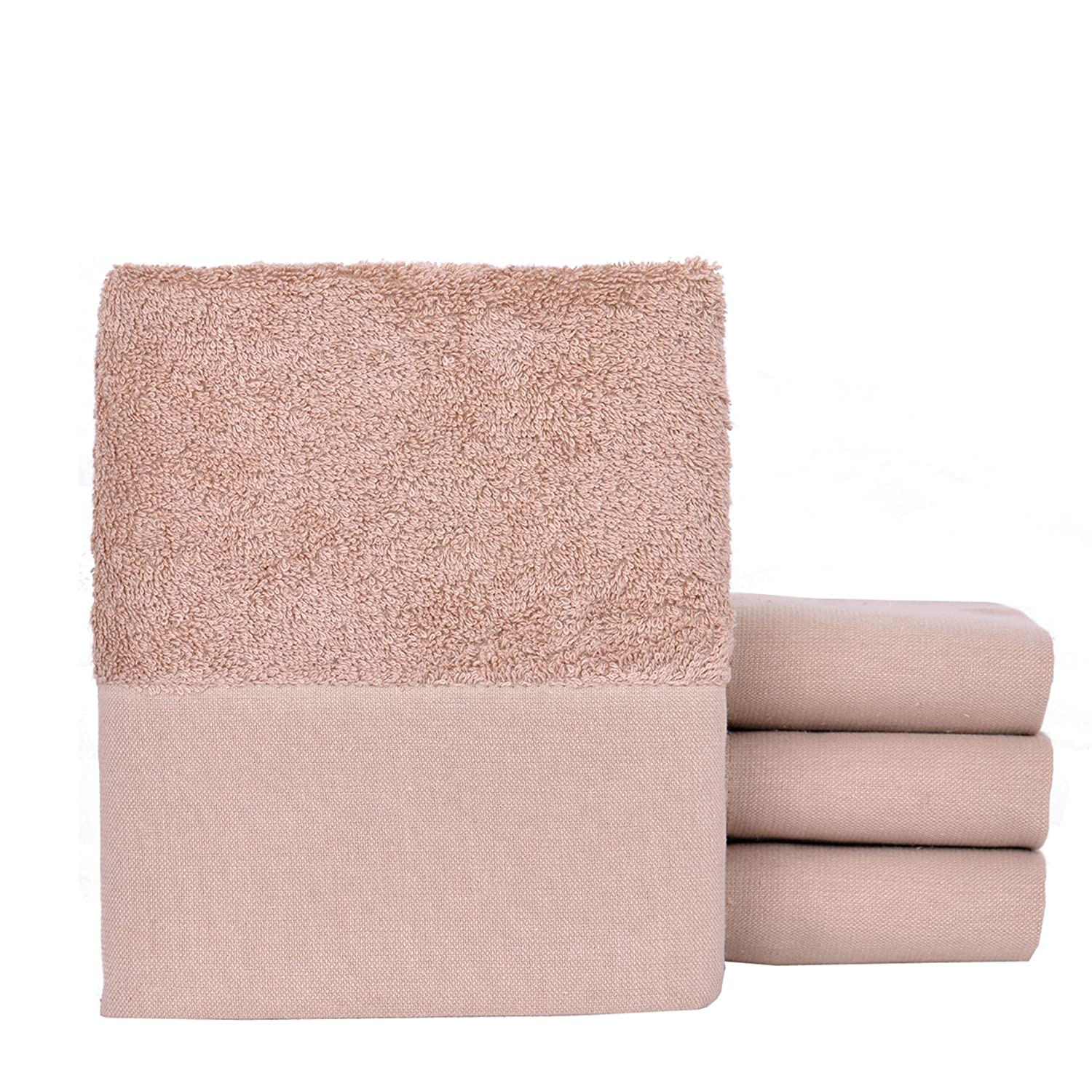 4 Packs MINTEKS Quick Dry 152302640 Turkish Hand Towels Blank Towel for Embroidery Brown