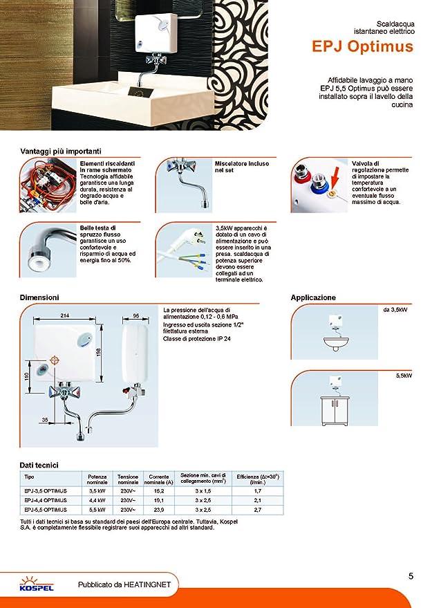 Calentador de agua electrico optimus