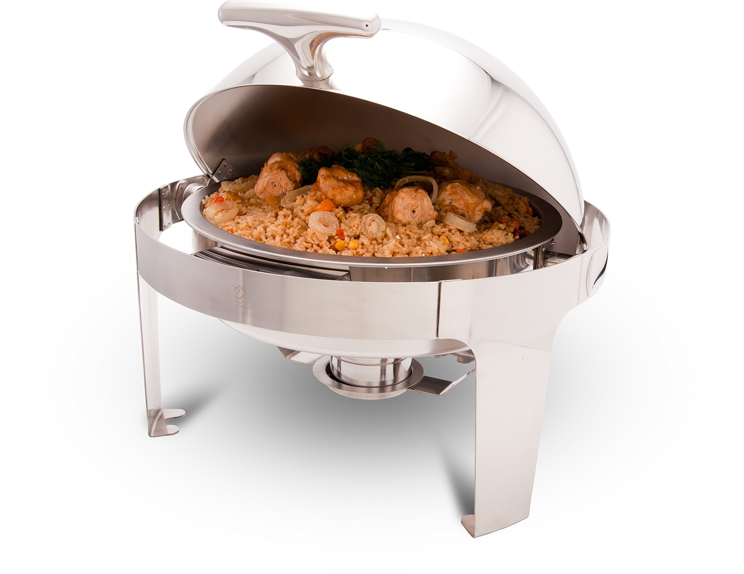 PrestoWare PWR-1RR Round Roll-Top Chafing Dish 5 Qt with Stand, Stainless Steel Chafer for Catering - Presto ware