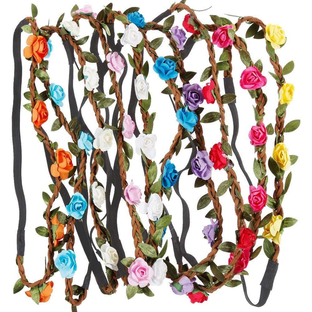 Rovtop Lot de 10 haarband avec couronne de fleurs Bandeau Bandeau Bandes de Cheveux de Fleurs avec bande élastique pour les femmes Fille Multicolore Fleurs