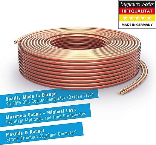 PureLink SE-SP051-010 99.9/% OFC Cable de Cobre s/ólido 0.20mm Cable de Altavoz de Alta fidelidad Cable de Altavoz 2 x 1.5 mm/² 10m Blanco
