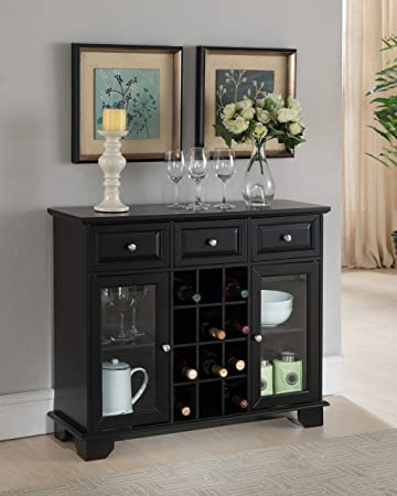 Cool Kings Brand Furniture Buffet Server Sideboard Cabinet With Wine Storage Black Interior Design Ideas Pimpapslepicentreinfo