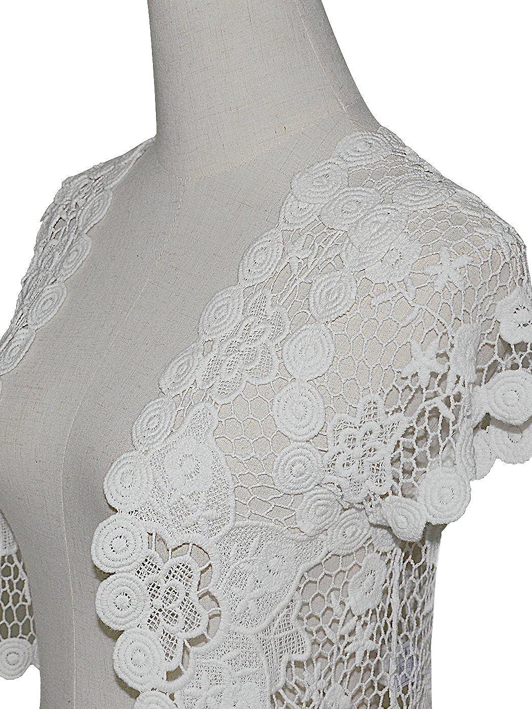4c9939f47557 Anna-Kaci White Floral Lace Crochet Mesh Short Sleeve Crop Cardigan ...