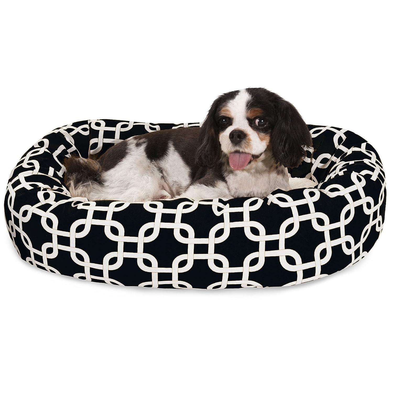 Black 24-Inch Black 24-Inch 24 Inch Black Links Sherpa Bagel Dog Bed