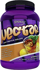 Syntrax Nectar, Native Grass-Fed Whey Protein Isolate, Refreshing Lemon Tea Flavor, RBST-Free, Grass-Fed Whey, Mixes Instantly, Lactose & Gluten Free, Lemon Tea, 2.0 Pounds