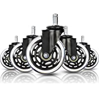 """Houseables Office Chair Wheels, Swivel Chairs Wheel, 5 Pk, 3"""", Rubber, Polyurethane, Replacement Parts, Furniture…"""