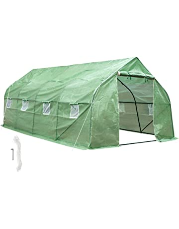 TecTake Invernadero de Jardín vivero casero Plantas Cultivos Carpa de plástico | 600x300x205cm | 8 Ventanas