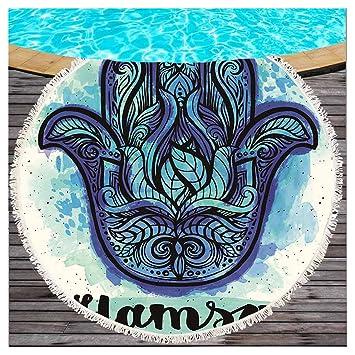 Mandala Hamsa Mano playa redondas Topo con borlas geométrico de la mano de Fátima redondas playa