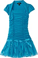 Amy Byer Big Girls' Rouched Bodice With Shrug Sequin Tutu Dress
