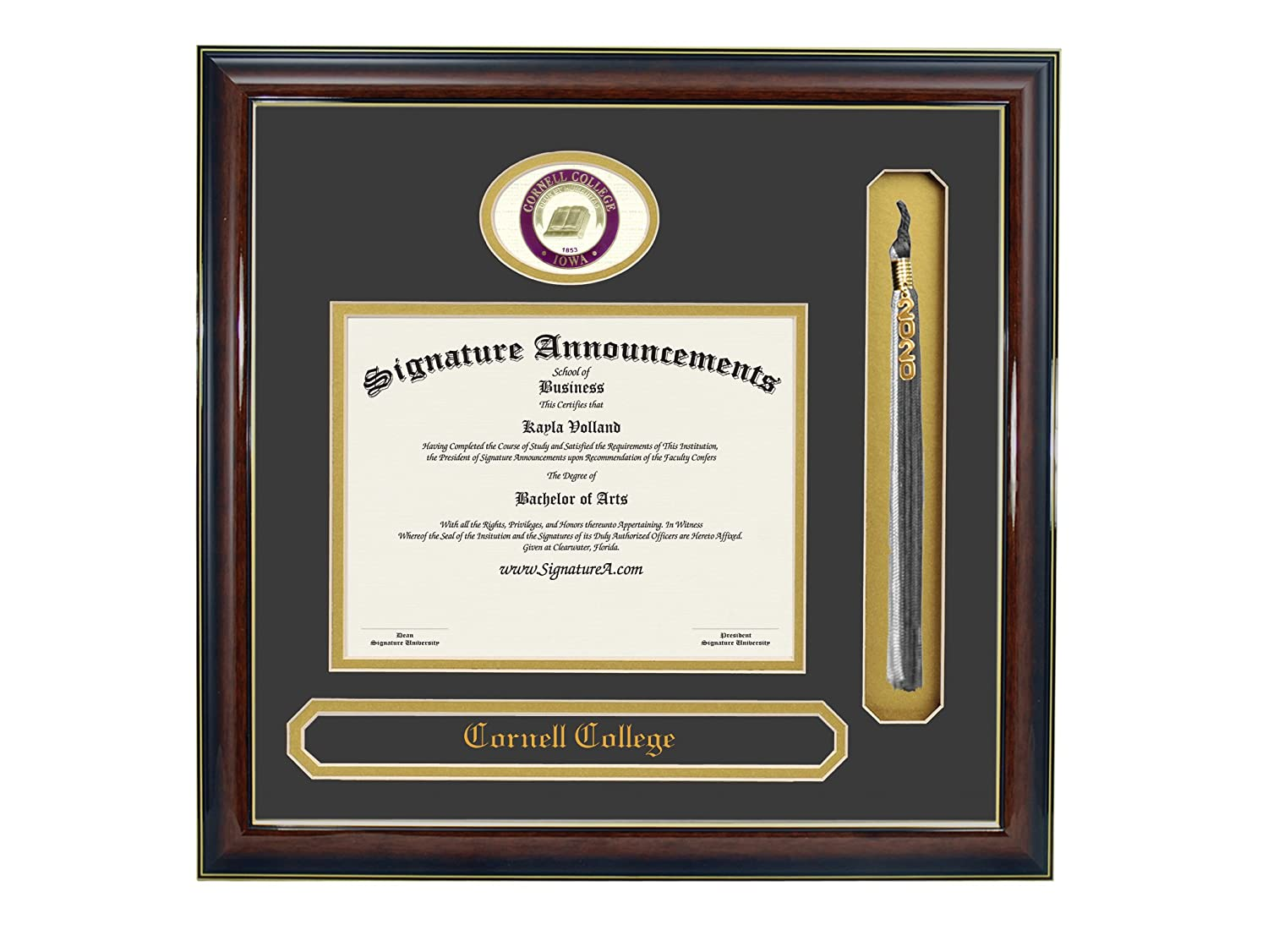 Signature Announcements Cornell-College Undergraduate Sculpted Foil Seal Name /& Tassel Graduation Diploma Frame 16 x 16 Gold Accent Gloss Mahogany