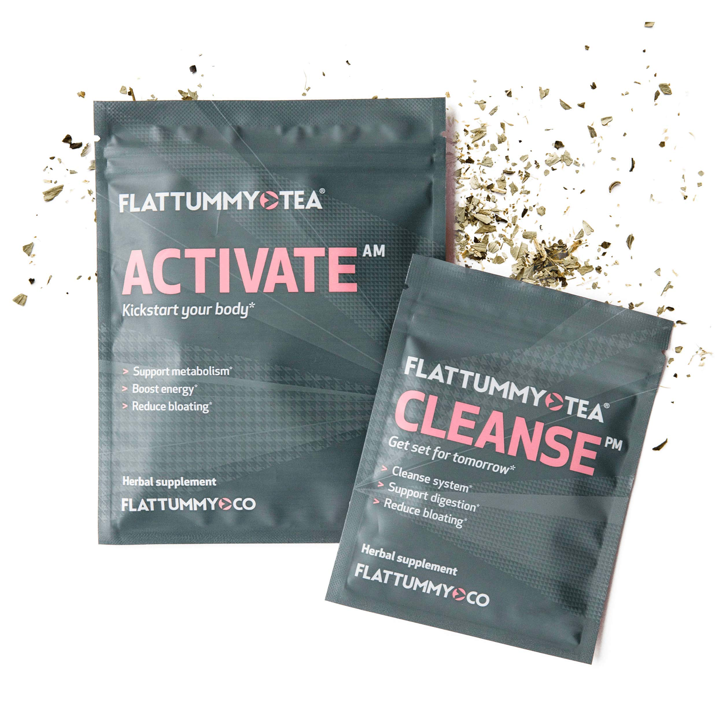 Flat Tummy Tea | All-Natural Detox Tea to Help with Bloating, Maintain Immune System and Boost Energy - 2 Step Metabolism Boosting Teatox System (28 Day Cleanse)