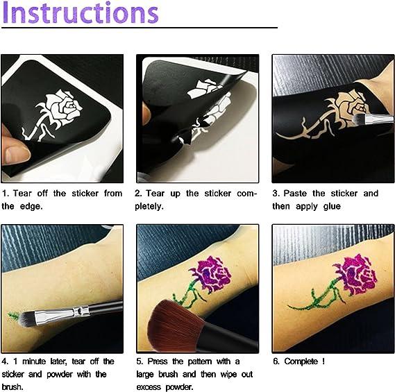 Kit de Tatuajes Temporales, Pintura Facial para el Cuerpo con 24 ...