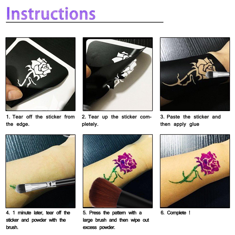 Kit de Tatuajes Temporales de Xpassion Tatuaje de Brillo para el Cuerpo para Niños Adolescentes y Adultos,con 24 Colores de Brillo y 6 Polvo Luminosos 118 ...