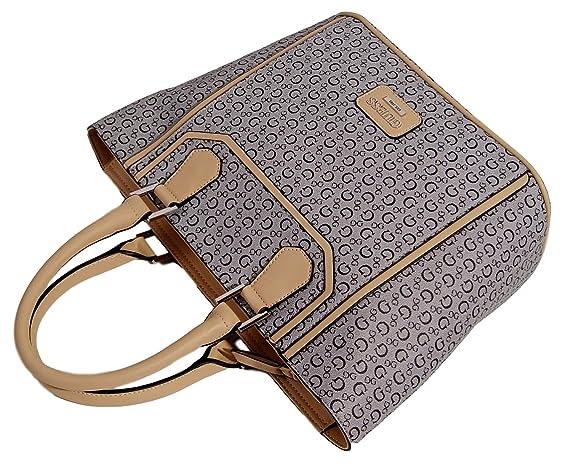 Amazon.com: GUESS Signature Leadership Tote Bag Handbag Purse Black Multi: Shoes