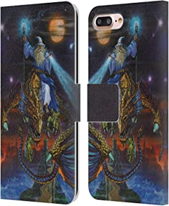 Head Case Designs Officially Licensed Ed Beard Jr Twilight Tempest Dragon Friendship Leather Book Wallet Case Cover Compatible with Apple iPhone 7 Plus/iPhone 8 Plus