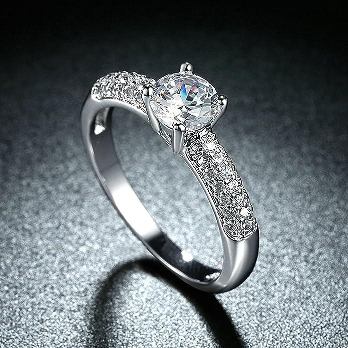 AnazoZ 925 plata chapado en rodio laboratorio creado diamantes redondos compromiso anillos de boda para las mujeres: Anazoz: Amazon.es: Joyería