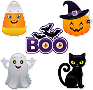 Bella and Bentley Novelty Halloween Cutouts - Party Decorations Supplies for Kids Classroom - Pumpkin Ghost Black Cat Candy Corn Boo Spider Bat- 20 PCS
