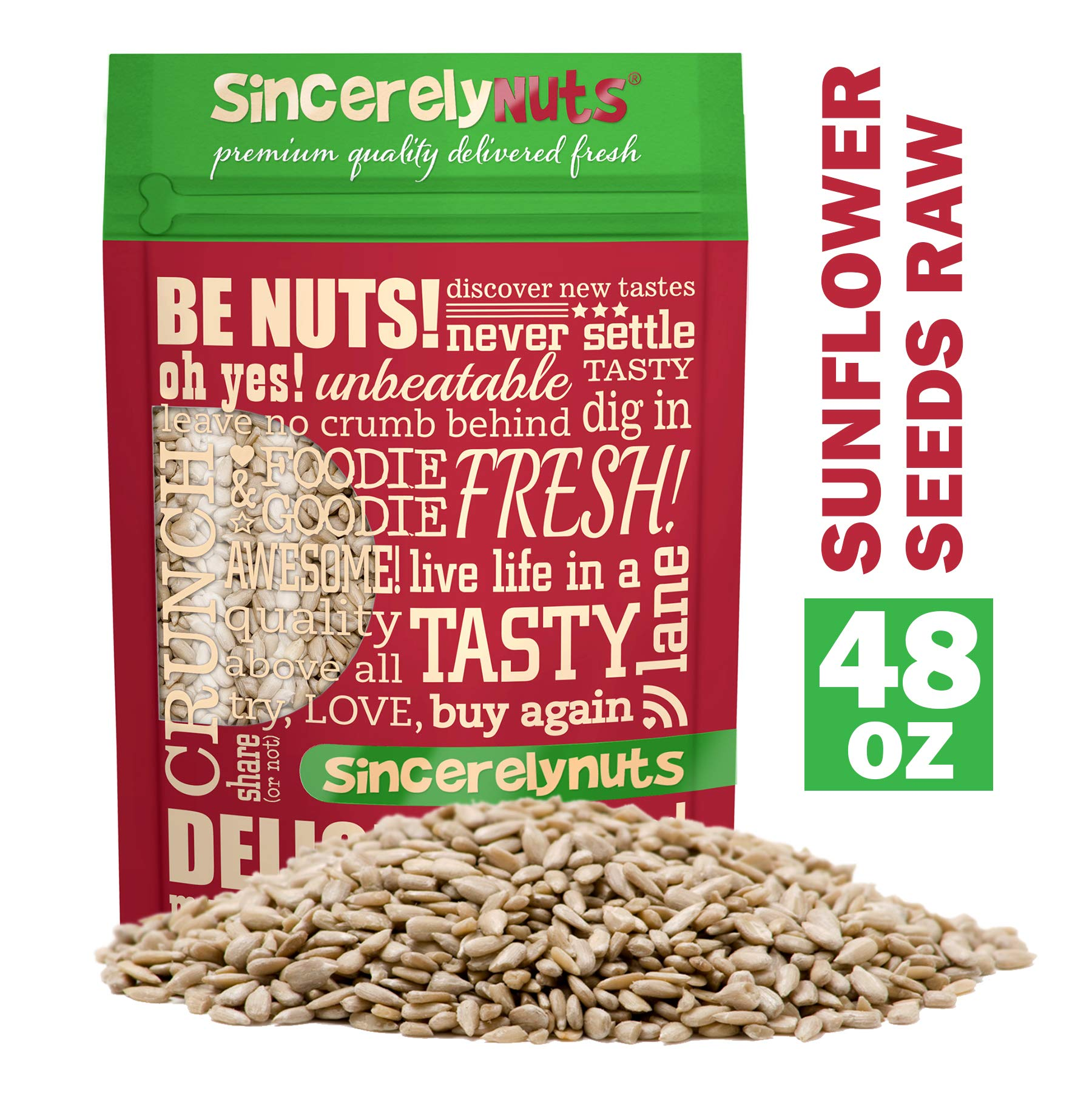 Sincerely Nuts Sunflower Seed Kernels Raw (No Shell) (3lb bag) | Delicious Antioxidant Rich Snack | Source of Protein, Fiber, Essential Vitamins & Minerals | Vegan and Gluten Free by Sincerely Nuts