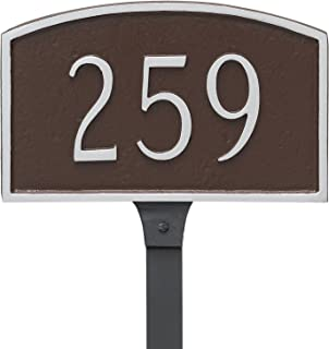 "product image for Montague Metal Prestige Arch Petite Address Sign Plaque with Lawn Stake, 5.5"" x 9"", Gray/White"