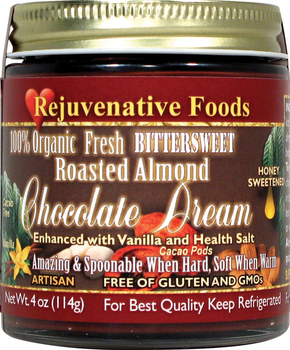 Vanilla Honey Roasted Almond Bittersweet Chocolate Smooth-Dream Pure Fresh Dairy-Free StoneGround 100%-Certified-USDA-Organic white-sugar-free Antioxidants fudge candy-in-glass Rejuvenative Foods-9oz