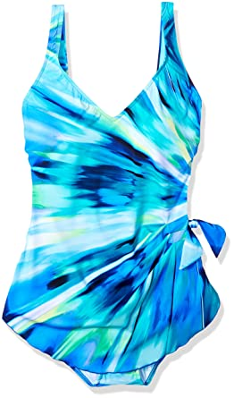 b1e586da50921 Maxine Of Hollywood Women s Ray of Light Wide Strap Sarong One Piece  Swimsuit