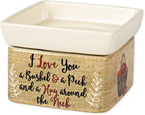 Elanze Designs I Love You A Bushel and A Peck Burlap Apples Stoneware 2 in 1 Jar Candle and Wax Tart Oil Warmer